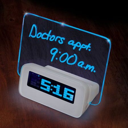 "Written Reminder Alarm Clock ensures your poor memory is no longer an excuse. This unique alarm clock will not only be able to tell you the time, not to mention giving you a nice ""wake up call"", so to speak, at the right time which you have set beforehand, but it is also able to illuminate the written reminders on its integrated dry-erase board whenever the alarm sounds in the morning."