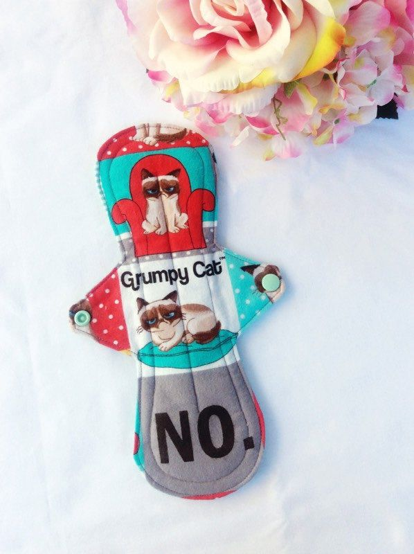 "10"" Cloth pad, menstrual pad,heavy flow, grumpy cat, washable pad, eco pad, incontinence pad, by MyIndieKids on Etsy"