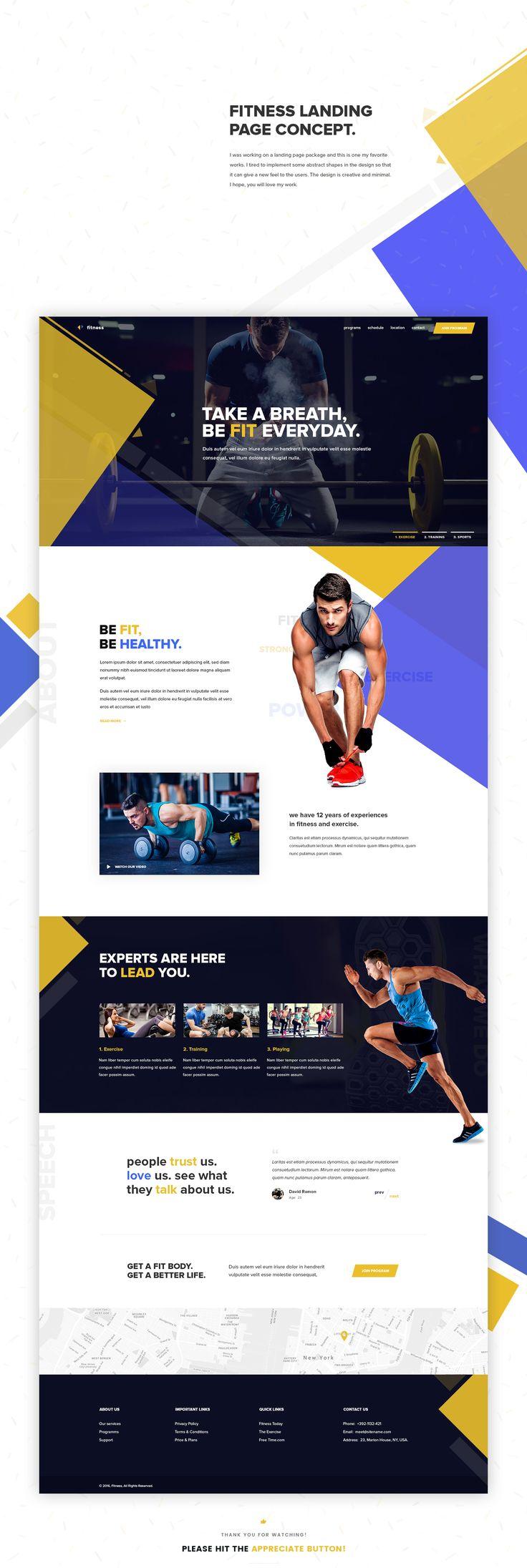 """다음 @Behance 프로젝트 확인: """"Fitness Landing Page Concept"""" https://www.behance.net/gallery/41009359/Fitness-Landing-Page-Concept"""