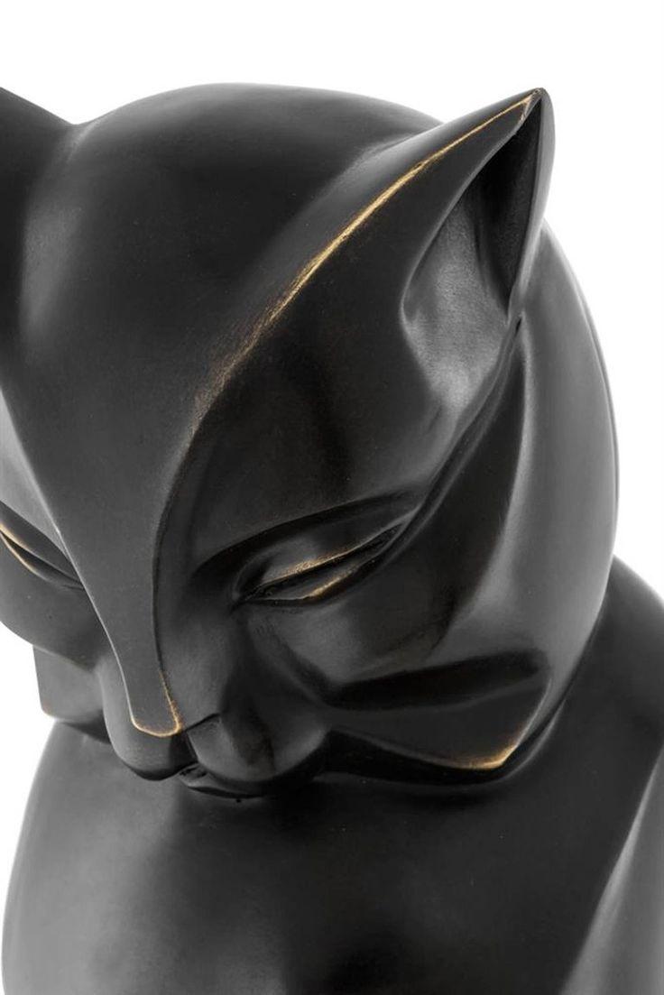 Cat Sculpture in Bronze Patina Style Art Deco 3