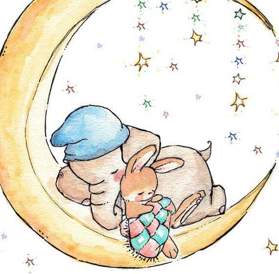 Children Art. Sleepy on the Moon. PRINT 8X10. by LoxlyHollow