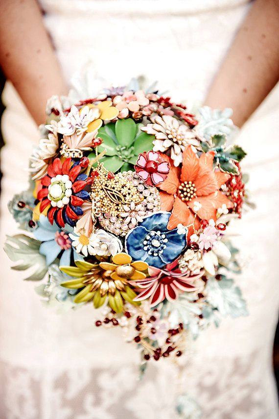 New-Floral Rhapsody-  Vintage Brooch Bouquet with crystals, handmade velvet dusty millers and more