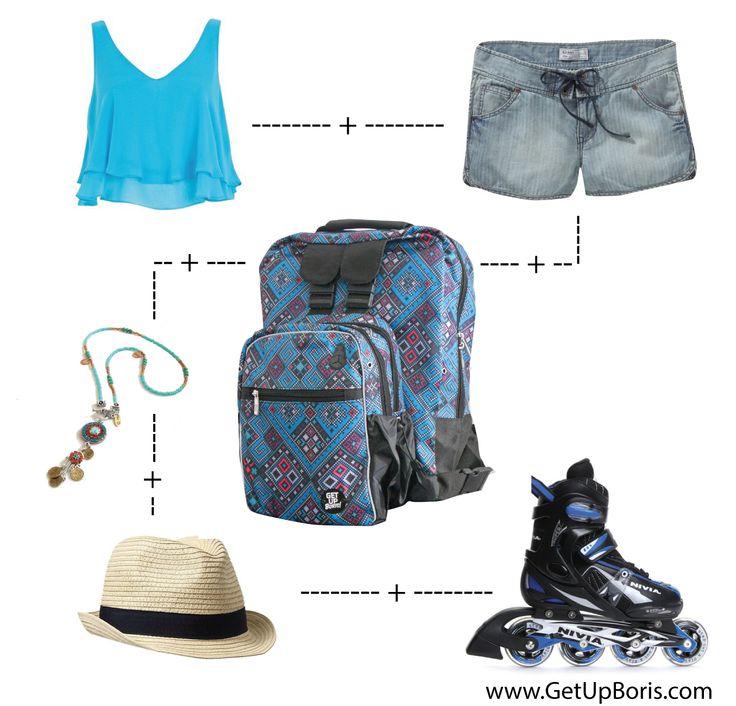 Sugerencia de look de verano para patinar. Summer fashion look-Inline skates Backpack available at www.tienda.getupboris.com