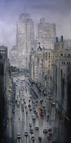 Subtle pops of color punctuate the gray streets of Pablo Rubén López Sanz's large-scale watercolor cityscapes, enticing us to view the world anew.
