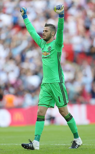 Manchester United's keeper David De Gea celebrates the goal against Leicester City during The FA Community Shield match between…
