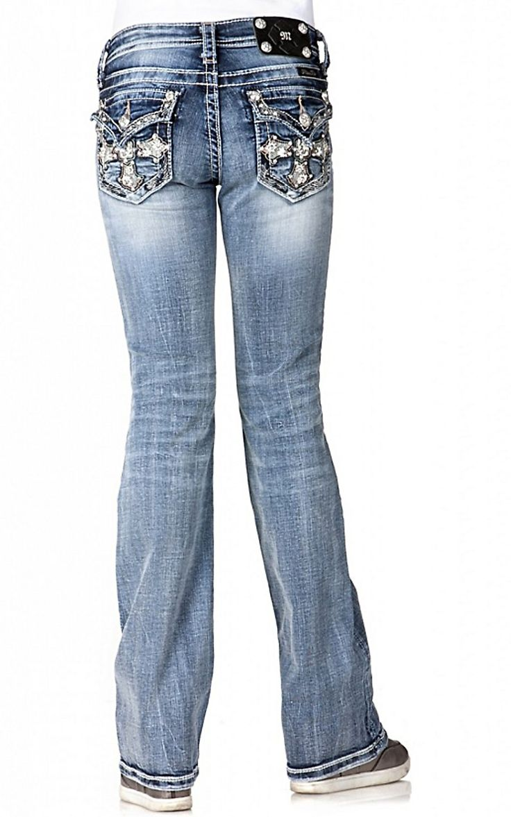 Miss Me Girls Cross with Crystals & Flowers Flap Pocket Boot Cut Jean