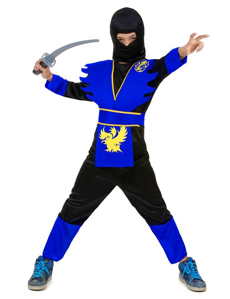 Disfraz azul de ninja para niño: Disfraz azul de ninja para niño compuesto por una camiseta de manga larga, un pantalón elástico en la cintura, un pasamontañas y una armadura con cinturón. (Catana...