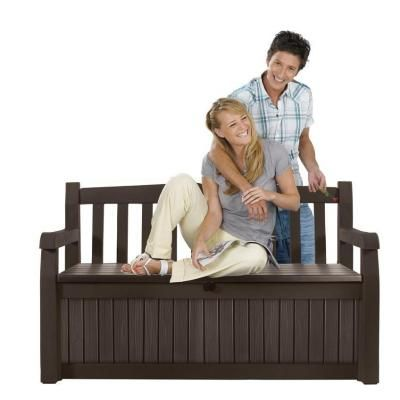 Keter 70 gal. Bench Deck Box in Brown-213126 - The Home Depot