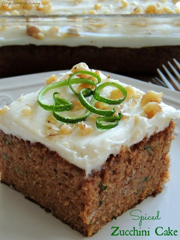 You will definitely want to give this yummy Spiced Zucchini Cake a try with some of that zucchini from your garden! CozyCountryLiving.com