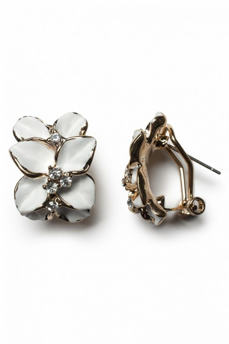 From Paris with Love! - Pretty White Camelias strass oorbellen