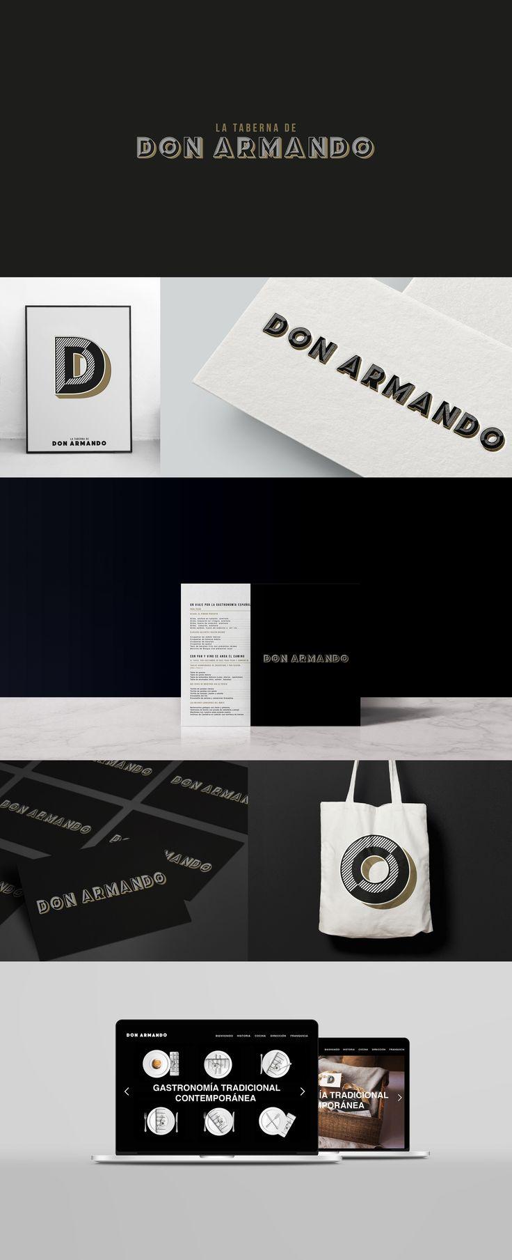 Identidad Corporativa para Don Armando, nuevo restaurante en Madrid.  Logotipo, papelería, fachada, carta, uniforme y web. ----  Corporate Identity for DON ARMANDO a new restaurant in Madrid.  #Businesscard #design #corporateidentity #branding #identidadcorporativa #logo #artdirection #madrid #bilbao