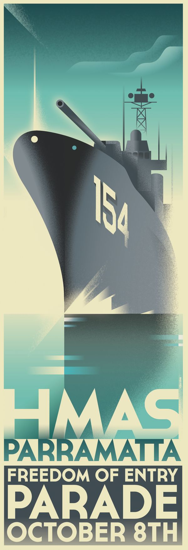 Poster design behance - Hmas Parramatta Freedom Of Entry On Behance Art Deco Postersphoto Illustrationposter Designsillustrations
