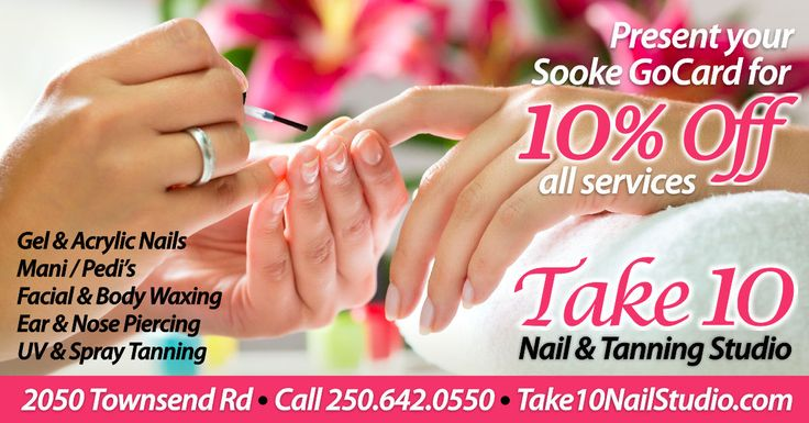 For gorgeous hands & feet and MORE...visit Take 10 Nail & Tanning Studio. Receive 10% off all their amazing services with your Sooke GoCard. Get a GoCard here: http://thegocard.ca/get-a-gocard #SookeGoCard #Take10