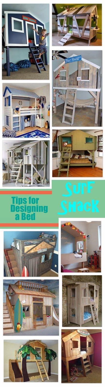 Muchas camas bunker!  Designing a Surf Shack Bed - Smart Girls DIY