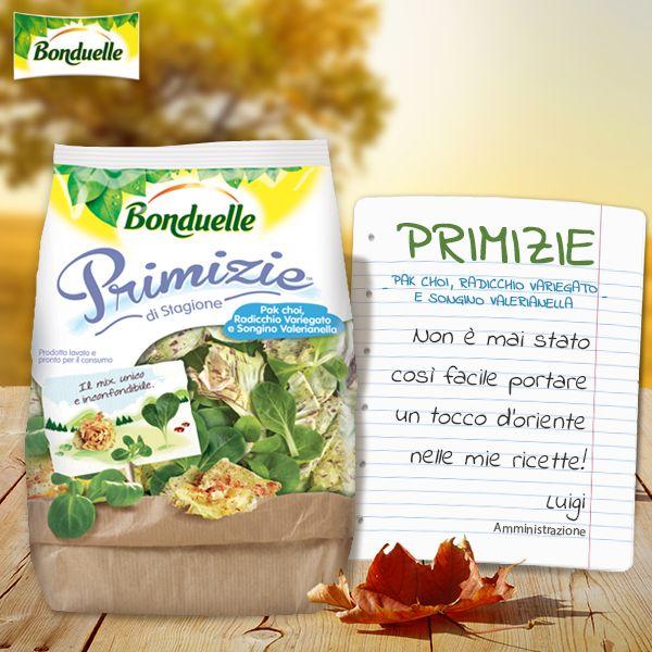 Un mix unico e inconfondibile unisce il pak choi, #insalata di origine orientale, al #radicchio variegato e al #songino, per un contorno fresco e di stagione!   Scopri tue Primizie di Stagione #Bonduelle sul sito http://www.bonduelle.it/prodotti/le-primizie/