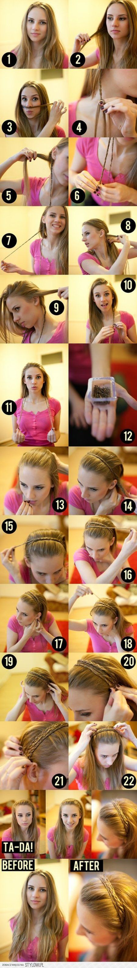 Braided #Headband #Hair #Tutorial  I have tied this with only one strand, and it looked nice. It is a great winter hairstyle.