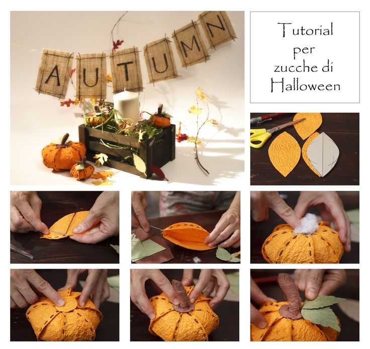 centrotavola realizzato in carta. Centerpieces made ​​with handmade paper pumpkins for your Halloween party!