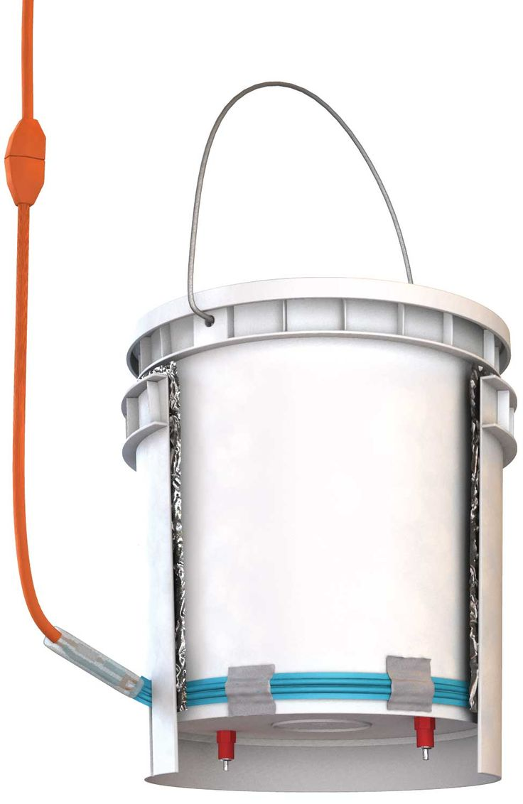 You can make this DIY poultry waterer to provide unfrozen water to your birds all winter. A bucket water, such as this one from Avian Aqua Miser, can be transformed into a heated chicken waterer with a few simple tools and supplies.