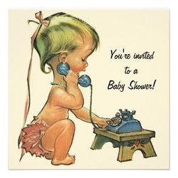 retro baby shower invitations - Google Search