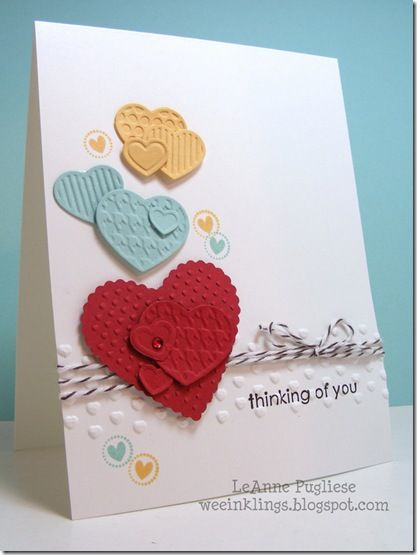 Stampin Up  heart card Early Espresso,Ruby Red, So Saffron, Pool Party, Fashionable Hearts embosslit.  Heart Stamp from Itty Bitty Bits