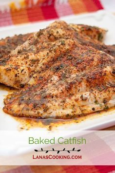 Baked catfish fillets topped with an herb blend, butter and lemon and baked…