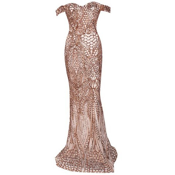 Honey couture hailey rose gold sheer sequin off shoulder evening gown... (380 CAD) ❤ liked on Polyvore featuring dresses, sexy dresses, sheer dress, couture dresses, sexy brown dress and off-shoulder dresses