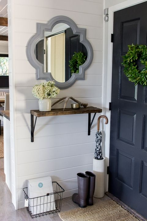 Gorgeous small entry decor ideas - love the mirror and wall shelf eclecticallyvintage.com