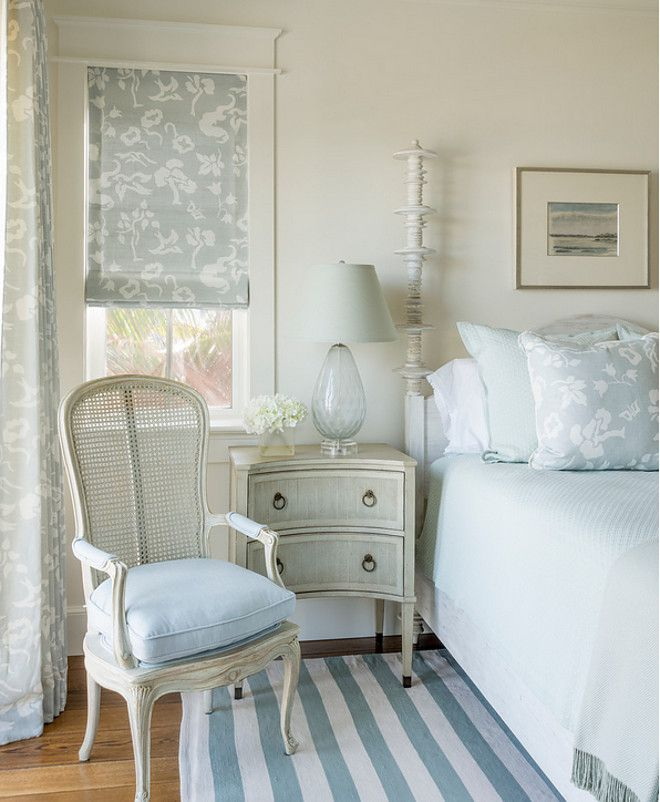 Painted furniture updated lampshade, simple roman shade at window and area rug on hardwood floors