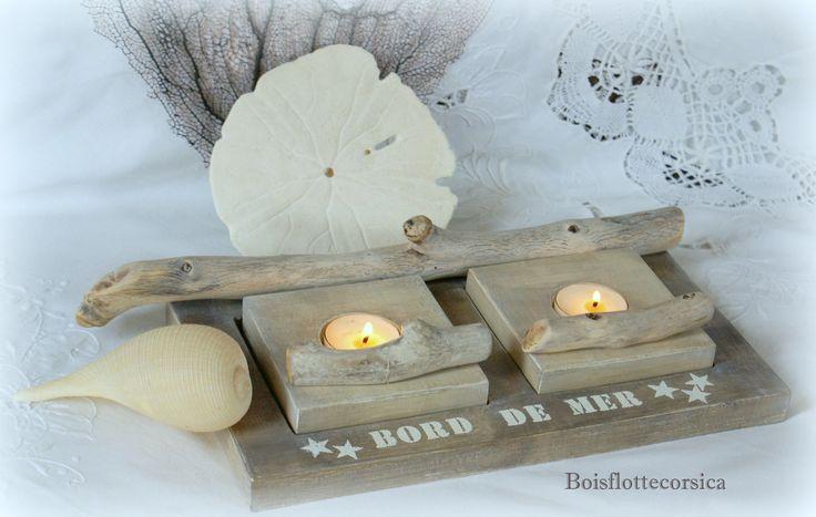 Bougeoir en bois chantourn avec 3 bois flott s bord - Fabriquer des objets en bois flotte ...