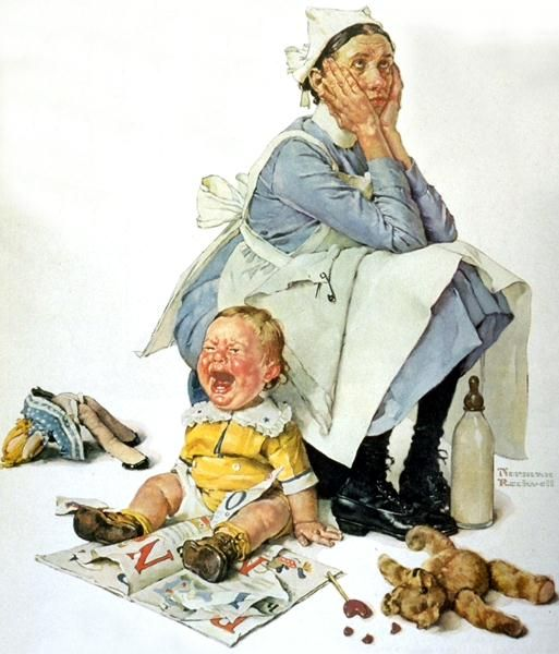 "Norman Rockwell ""Exasperated Nanny"" (1936) ..haha. been there"