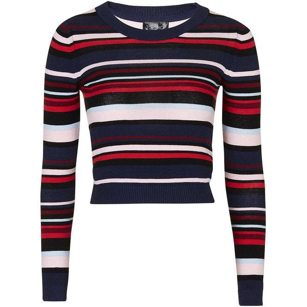 TOPSHOP Multi Stripe Crop Top (£38) ❤ liked on Polyvore featuring tops, red, striped top, crop top, topshop tops, long sleeve tops and stripe crop top