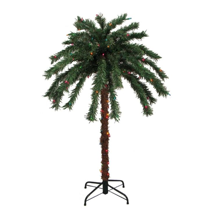 Sienna 4' Pre-Lit Tropical Outdoor Summer Patio Palm Tree - Multi-Color Lights, Multi-Colored (Glass), Outdoor Décor