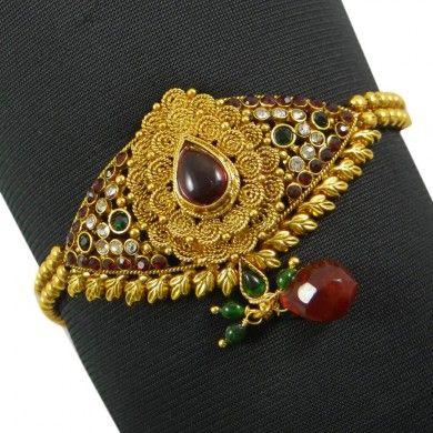 Indian Women Upper Arm Bracelet Jewellry CZ Stone Gold Tone Armlet Jewelry