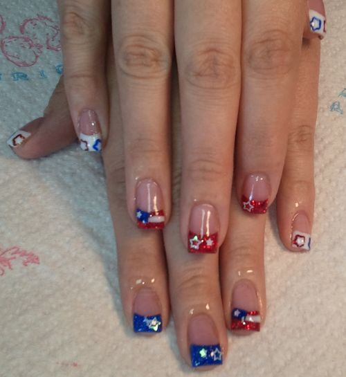 day182b Manicure Design   American flags design