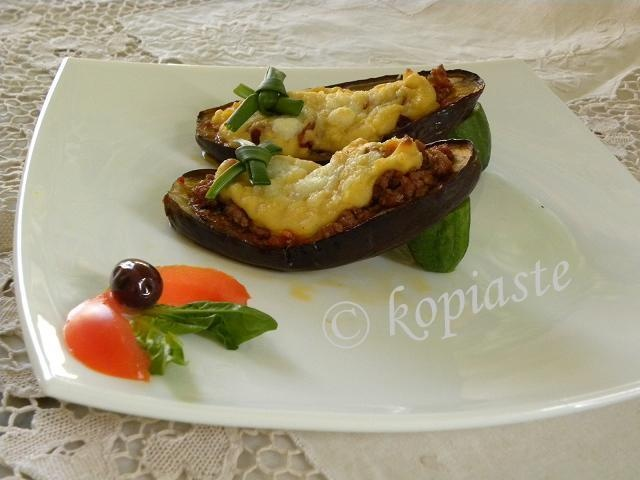 ... shoes) are stuffed eggplants with ground meat and bechamel sauce