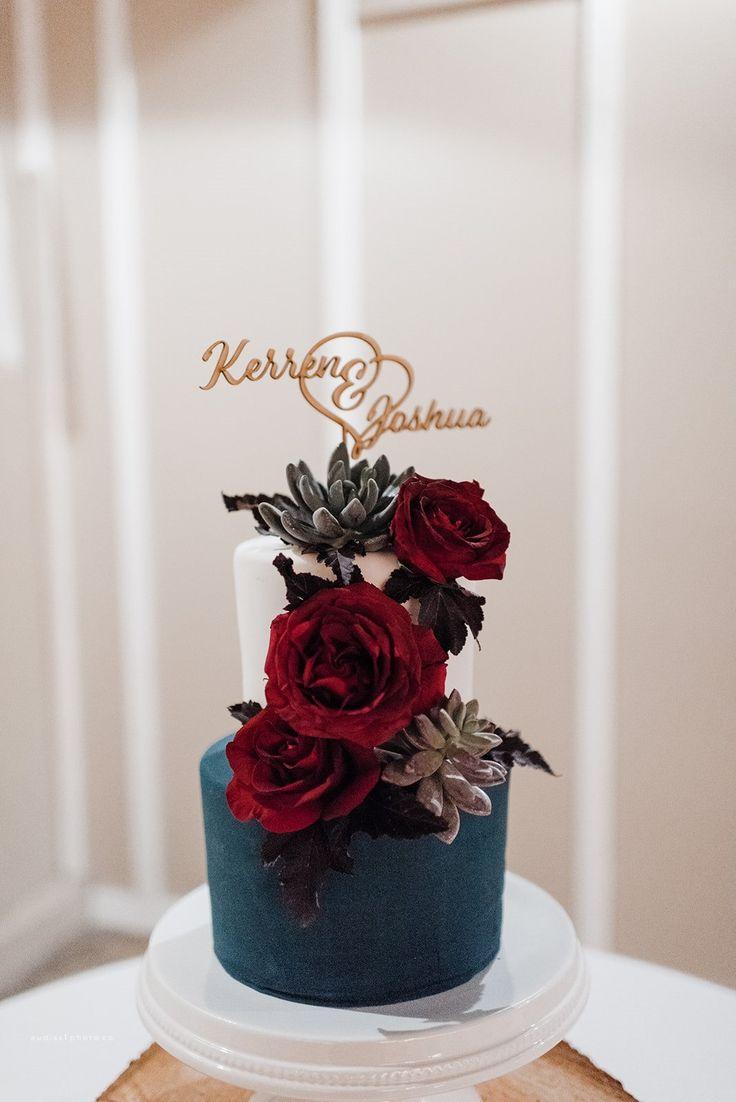 Navy Blue And Maroon Wedding Cake Winter Wedding Inspiration Wedding Cake Inspiration