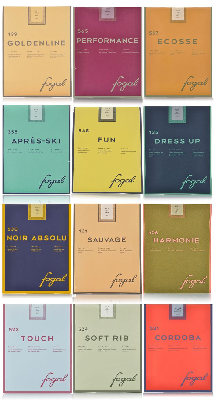 Great use of color carried throughout the packaging for Fogal, a Swiss legwear and knitware company. Lots more after the jump.