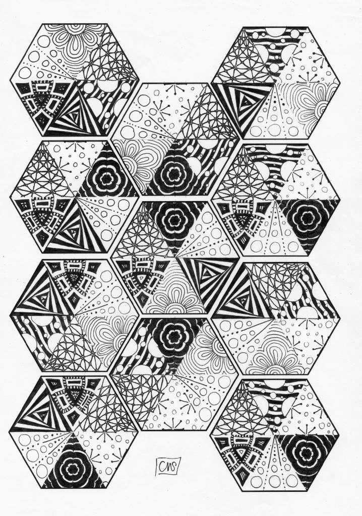 un jeu de domino hexagonaux version zentangle! A imprimer, plastifier, et découper.