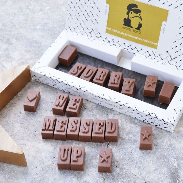 Sorry Chocolates in 2018 | Morse Toad's Marvellous Messaging Service | Gifts, Chocolate, Personalised