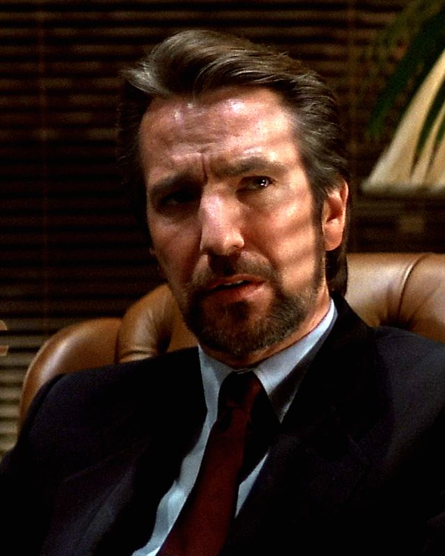 Alan Rickman as Hans Gruber, the most attractive villain in Movie!