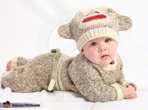 Sock Monkey - Halloween Costume. Great idea for jagger. He won't get cold :)