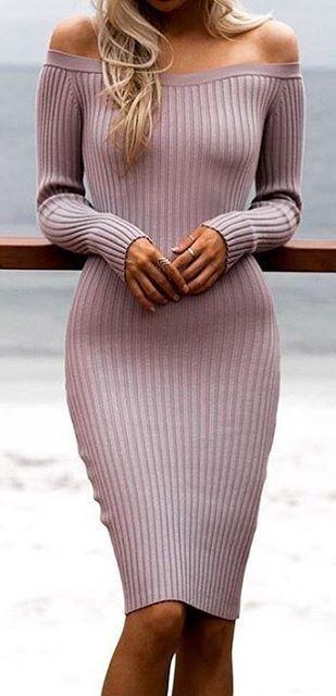 Pink Ribbed Off The Shoulder Dress                                                                             Source