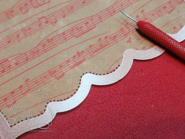 Card embellishments:  Piercing before removing the paper from the die.