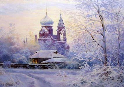 ОТЧИЙ ДОМ     Зимний вечер рано - рано     Зажигает свет в домах .    Еще видно стены храма     И кресты на куполах .     Лес застыл , затихли звуки ,    Сумерки кругом ...    Ожидание разлуки ,    Но неспешен отчий дом .