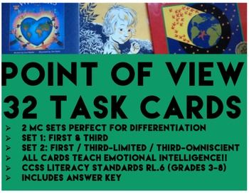 POINT OF VIEW  2 PRODUCTS FOR THE PRICE OF ONE  64 TASK CARDS  2 SETS FOR GRADES 3   8   Set 1  First vs  Third  Set 2  First vs  Third Limited vs  Third Omniscient  Perfect for differentiation  BONUS  all cards teach emotional intelligence  amp  mindfulness   Teach third person omniscient  amp  third person limited  pointofviewtaskcards