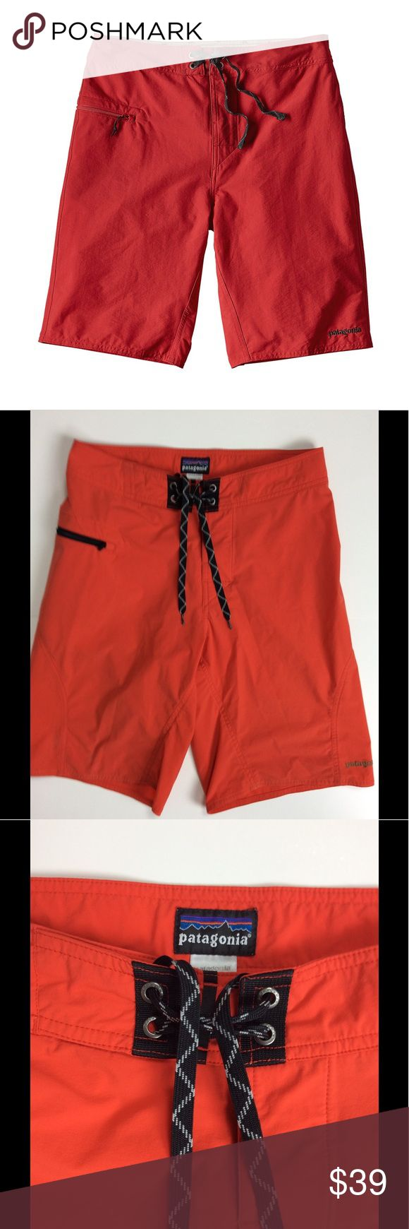 """Patagonia Stretch Wavefarer Board Shorts Men's Patagonia Stretch Wavefarer Board Shorts. Size 28; 14"""" width, 10"""" rise, 10"""" inseam. 100% polyester. """"Fire"""" color. Contoured waistband; flat-lying fly with a single rubber button. Ladder lock drawstring closure, turned and barracked drawstring is durable and adds security. Self-draining pocket on right hip has a noncorroding, recyclable plastic zipper with internal key loop and zipper pull. Hip pocket doubles as a self-storage pouch. In very good…"""