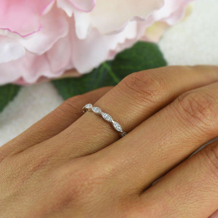 Art Deco Wedding Band, 1.5mm Engagement Ring, Half Eternity Band, Man Made Diamond Simulants, Sterling Silver, Vintage Style Bridal Ring by TigerGemstones on Etsy https://www.etsy.com/listing/215946023/art-deco-wedding-band-15mm-engagement
