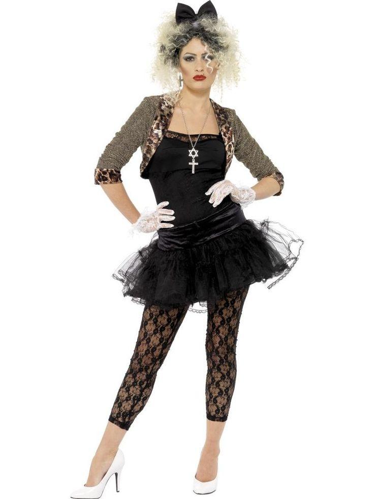 80's 80s Eighties Wild Child Madonna Pop Star Fancy Dress Ladies Av With Wig