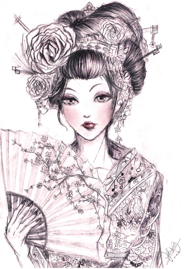 Pics photos dessin anime walt disney la petite sirene tattoo - Geisha_2_by_kastile D3hl98r Png Plus