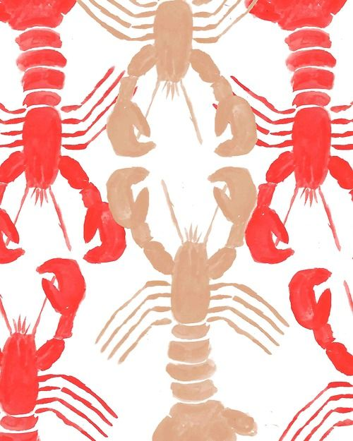 #Lobster Print. #pattern #illustration